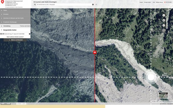 Land-slide affected area in Valais