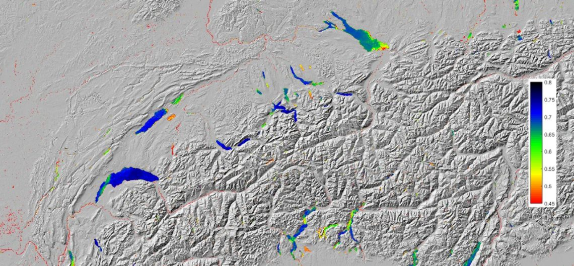 Calculation of the Secchi depth for open water bodies in Switzerland based on optical remote sensing data.